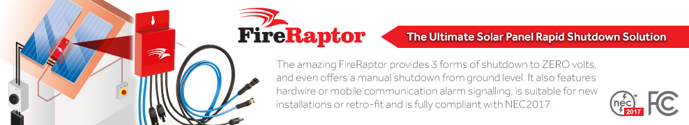 FireRaptor Solar Panel Rapid Shutdown Solution